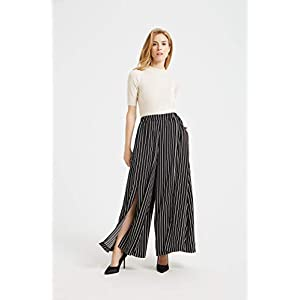 Tronjori Women's High Waist Elastic Casual Wide Leg Palazzo Pants Trousers with Front Slit