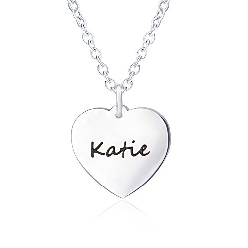 Bala Name Necklace for Women Personalized with Silver Heart Necklaces Girlfriend Script Pendant Carved Engraved (Health Engraved Pendant)
