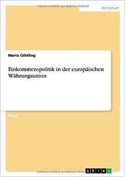 Book Einkommenspolitik in der europäischen Währungsunion