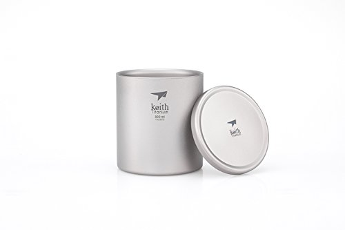 Keith Mini Portable Ti3302 Camping Double Walled Titanium Drinkware Titanium Lid+Titanium Cup/ 300ml