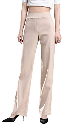 Foucome Dress Pants for Women-Slim Bootcut Stretch High Waist Trousers with All Day Comfort Pull On Style (Khaki, US 12-14-New)
