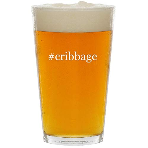 - #cribbage - Glass Hashtag 16oz Beer Pint