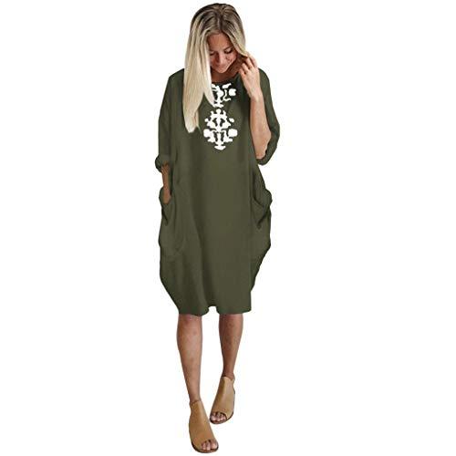 Casual Plus Size Loose Dress Women Ladies Crew Neck Long Tops Pocket Dress - Jersey Asymmetrical
