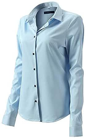 FLY HAWK Women's Formal Work Wear Simple Spread Collar Shirt Blouses Light Blue Shirts Size 12