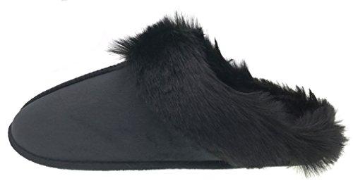 Moggei Heren Fuzzy Huis Slippers Kerstcadeau Effen Kleur Winter Warm Indoor Home Slipper Effen Kleur (zwart)