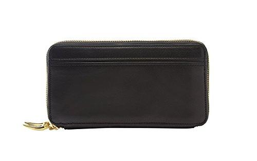 Tusk Donington Gold Double Zip Checkbook Clutch Wallet, Black