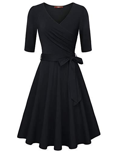 (Gaharu Dresses for Women Elegant Vintage High Waist Pleated Little Black Dress 3/4 Sleeve Nuring V Neck Cocktail Party Evening Dresses Black,Large)