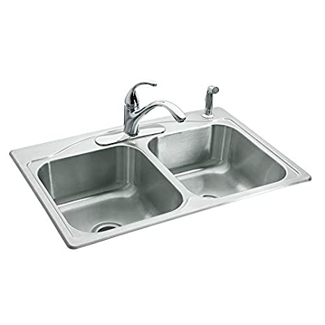 Amazon.com: Kohler double-basin Topmount de acero inoxidable ...