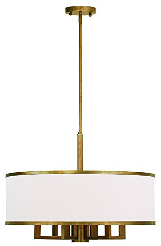 Livex Lighting 62614-48 Park Ridge 6 Light Chandelier, Hand Painted Antique Gold - Transitional Leaf Gold