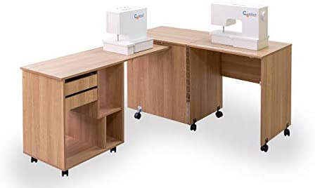 Comfort 8 | Mesa para máquina de coser y overlock | (Oak Sorano Natural Light): Amazon.es: Hogar