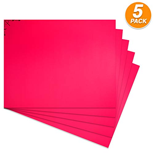 Emraw Poster Board Lightweight Craft Backing Boards for Presentations Office Sign Blank Painting Board Smooth Surface Poster Sheets for School Pack of 5 (Fluorescent Pink)