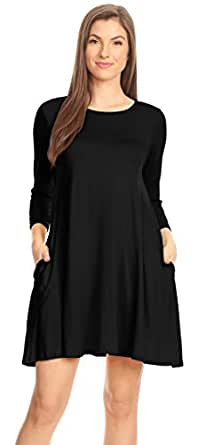 Simlu Casual T Shirt Dress for Women Flowy Tunic Dress with Pockets Reg and Plus Size - USA, Black 3/4 Sleeve, Small