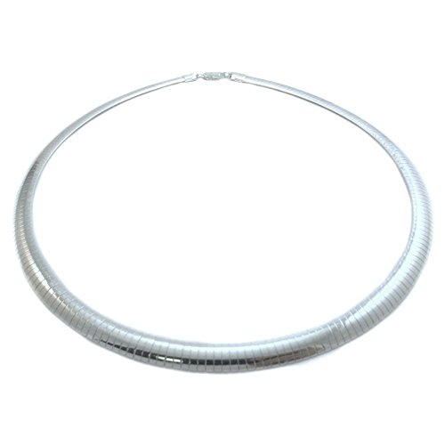 6mm Omega Necklace .925 Sterling Silver Italian Chain. 16,18,20 Inches (20 - 6 Omega Necklace Mm