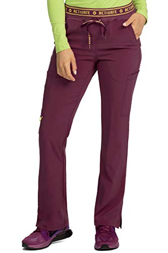 Two Waist Elastic Pocket (Med Couture Activate Scrub Pants Women, Yoga 2 Cargo Pocket Pant, Small Petite, Wine)