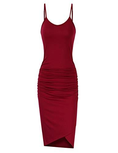 GloryStar Women Sleeveless Spaghetti Strap Ruched Bodycon Sundress Midi Dress Burgundy M