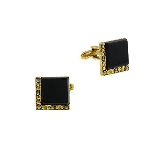 1928 Jewelry Unisex Gold Tone Black Onyx Square Cuff Links (Onyx Square Cufflinks)