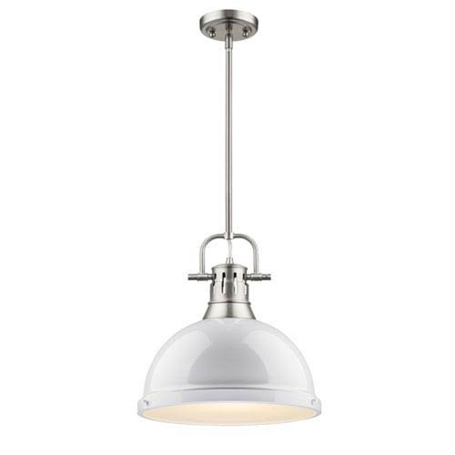 (251 First Quinn Pewter One-Light Pendant with White Shade)