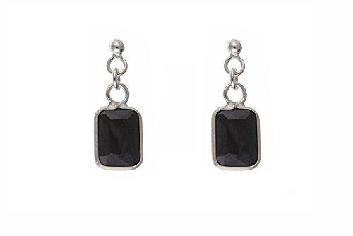 En argent Sterling zircon noir-boucles d'oreilles en forme de goutte rectangulaire