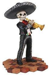 Skeleton Skull Black Mariachi Band Trumpet Statue