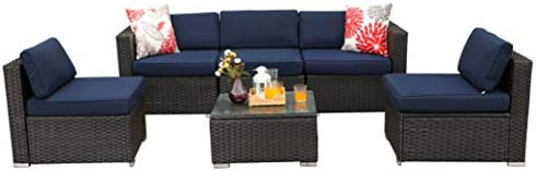 PHI VILLA Outdoor Sectional Furniture 6 Piece Patio Sofa Set Low-Back Rattan Wicker Conversation Set, Navy Blue
