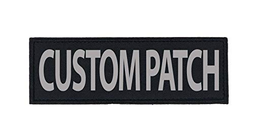 Dogline Custom Reflective Patch for Vest Harness Or Collar Customizable Text Personalized Patches with Hook Backing Name Service Dog in Training Emotional Support (2 Patches) - 1.5