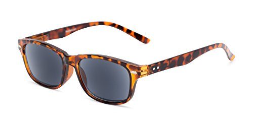 Readers.com Sun Reader: The Key West Reading Sunglasses Plastic Retro Square Style for Men and Women - Tortoise with Smoke, 2.50 (Sun-glasses.com)