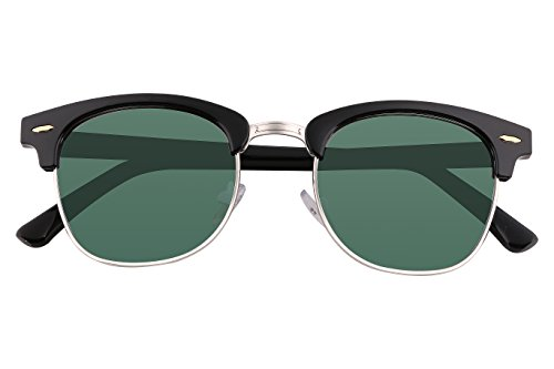 FEISEDY Classic Polarized Half Frame Brand Sunglasses Men Women B2250 Dark Green - G15