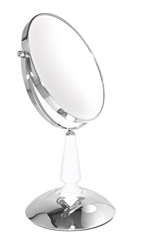 Classic chrome with a white glass neck. 5X magnification for grooming, a 1X for a true view image