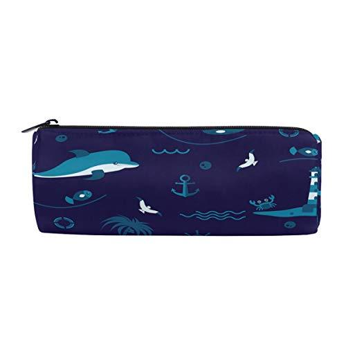 ALAZA Pencil Case Ocean Navy Blue Dolphin Pen Pencil Bag Zip