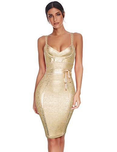Meilun Womens Rayon Belt Detail Bandage Bodycon Party Dress (L, Gold)