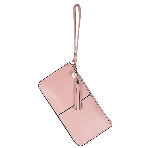 Price comparison product image Lovena Soft Leather Wristlet Smartphone Zipper Wallet Clutch Organizer Tassel Purse with Credit Card Holder/Cash pocket/Wrist Strap- Gift for girls, women- Pink