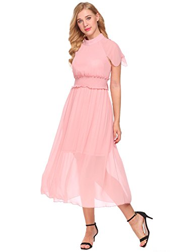 Pink Belt Women's ACEVOG A Loose Pleated line Chiffon Dress Vintage with Halter UawnqWwxPv