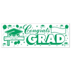 Congrats Grad Sign Banner (green & white) Party Accessory  (1 count) (1/Pkg)