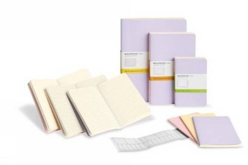 Moleskine Cahier Journal (Set of 3), Large, Ruled, Persian Lilac, Frangipane Yellow, Peach Blossom Pink, Soft Cover (5 x 8.25)