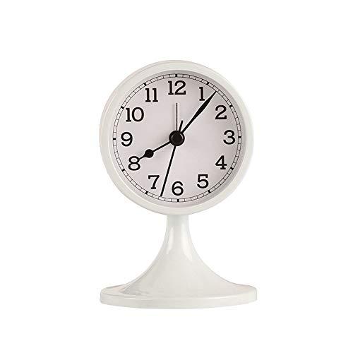 dongzhifeng Alarm Clock Sbedside Non Tickingretro Desktop Metal Mini Wake Up Student Bedside Retro Red Mute Needle Get Up Clock White