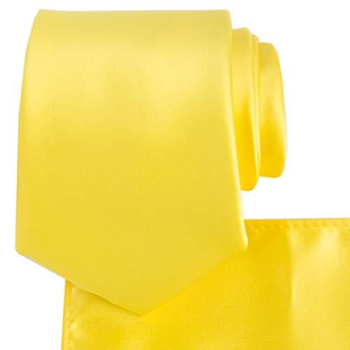 KissTies Yellow Tie Set Satin Necktie + Pocket Square + Gift Box ()