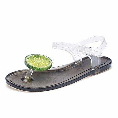 FSCHOOLY Womens Zapatos De Gel De Sílice Comodidad Verano Sandalias De Tacón Plana Ronda Toe Para Blanco/Negro Casual Blanco Y Negro Negro/Blanco