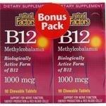 B-12 Methylcobalamin 1,000mcg Bonus Pack Natural Factors 90/90 Chewable