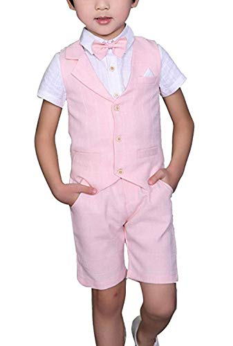Yilaku Boys' 4-Piece Vest Set with Dress Shirt, Tie, Vest, and Pants Summer Kids Clothing Set(5-6Years Pink)
