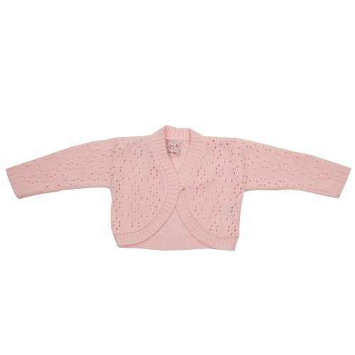 Zip Zap Baby Girls Pale Pink Long Sleeve Bolero Cardigan One Button Fastening