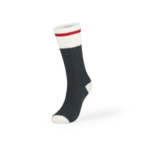 Kodiak - Women's Crew Socks 2 Pair Pack, Style 1896 - Charcoal with Red Stripe