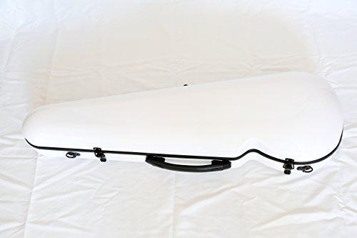 Vio Music Full Size Hightech Carbon-Like Combo Violin Case 4/4-White, New Design by Vio Music