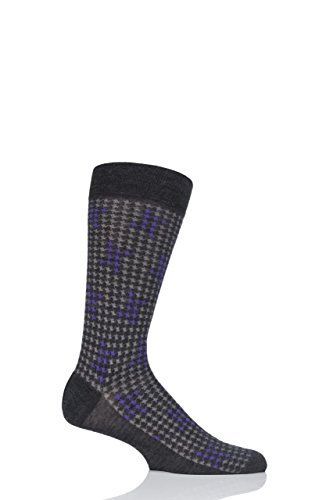 Mens 1 Pair Pantherella Hopton Highlighted Houndstooth Merino Wool Socks - Charcoal 11-13