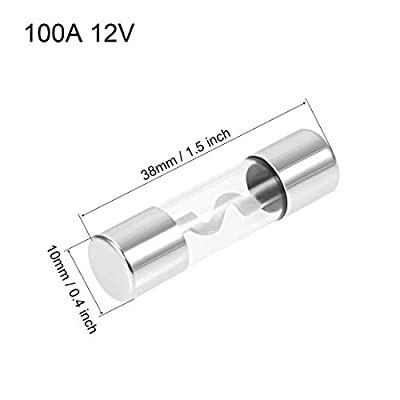 uxcell Automotive Cartridge Fuses 100A DC 12V 10x38mm Fast Blow Replacement for Car Stereo Audio Alarm Amplifier, Glass Silver 5pcs: Automotive