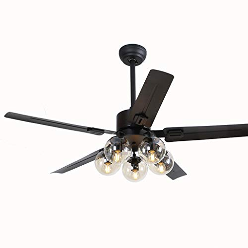 - ZAQ Ceiling Fan Light with Remote Control, Black Pendant Lamp with Stainless Steel Blades and Glass Lamp Shade