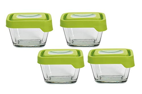 Anchor Hocking TrueSeal Glass Food Storage Containers with Lids, Green, 1 7/8 Cup (Set of 4)