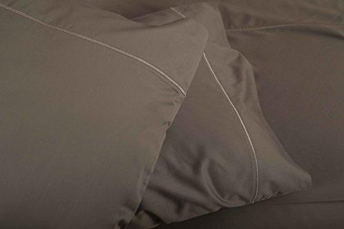 #SUAVECOTTON.USA Luxury 600TC 100% natural cotton sateen supreme silky soft 4PC QUEEN sheets,fits upto 21' deep pocket, marrow hem-LIGHT GREY QUEEN