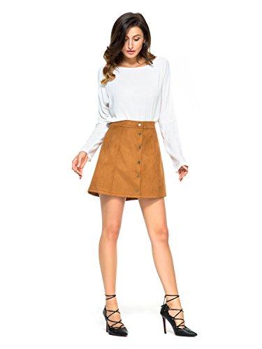 Clothink-Women-Velvet-Button-Front-High-Waist-A-line-Mini-Skirt