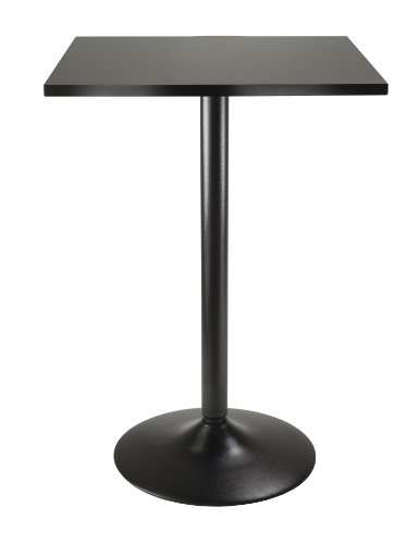 Wonderful Winsome Obsidian High Table Square Black Mdf Top With Black Leg And Base
