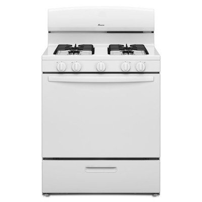 White Freestanding Gas Range (AMANA AGR4230BAW 5.1 cu. ft. Single Oven Free-Standing Gas Range, 30
